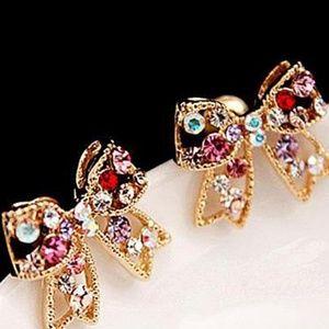 Jewelry - Rhinestone Bow Earrings